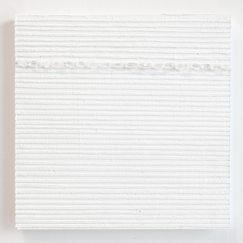 Crystal Cut Levitation #34 , 2019, Quartz crystal, acrylic and linen on wood panel 12 x 12 in (30.48 x 30.48 cm)