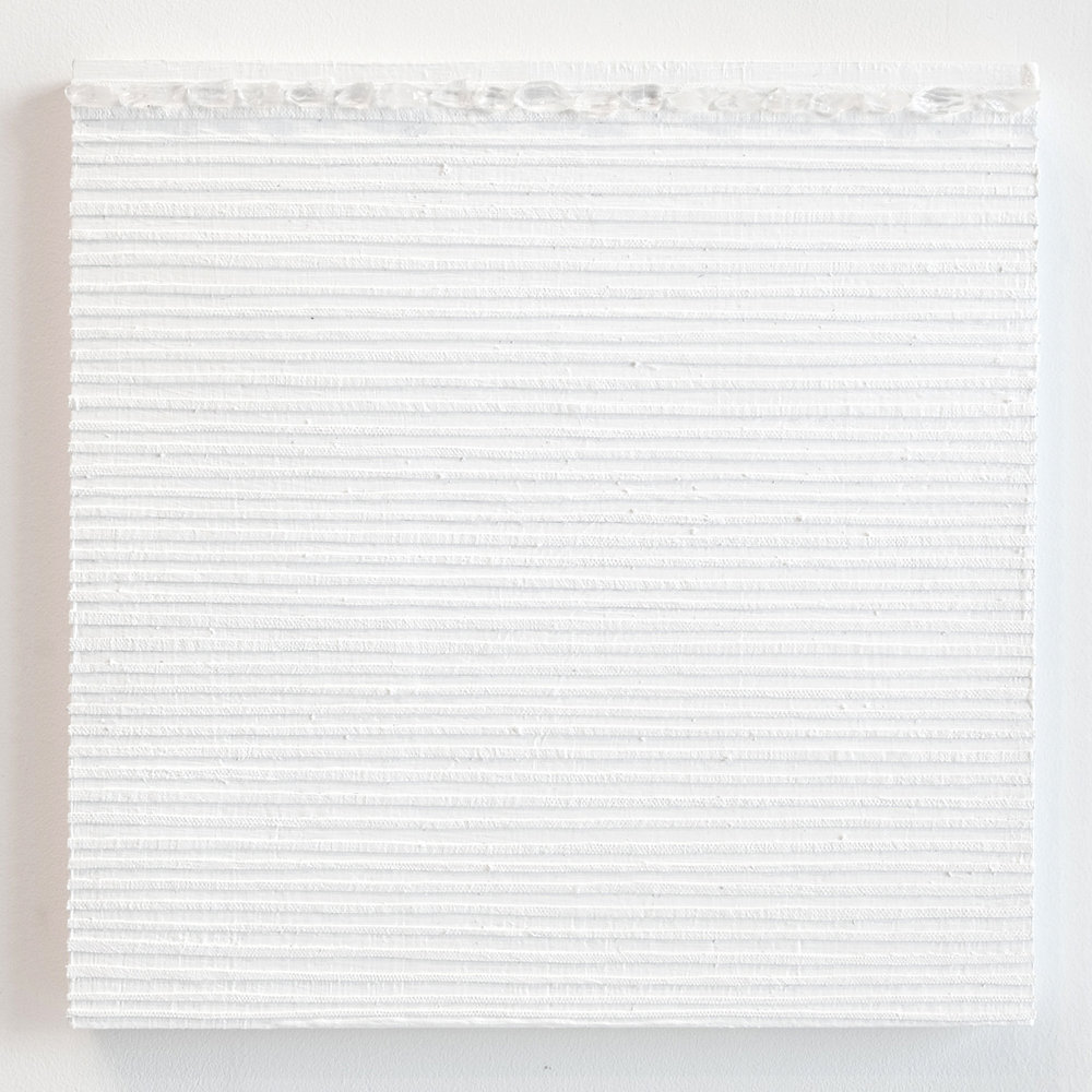 Crystal Cut Levitation #35 , 2019, Quartz crystal, acrylic and linen on wood panel 12 x 12 in (30.48 x 30.48 cm)