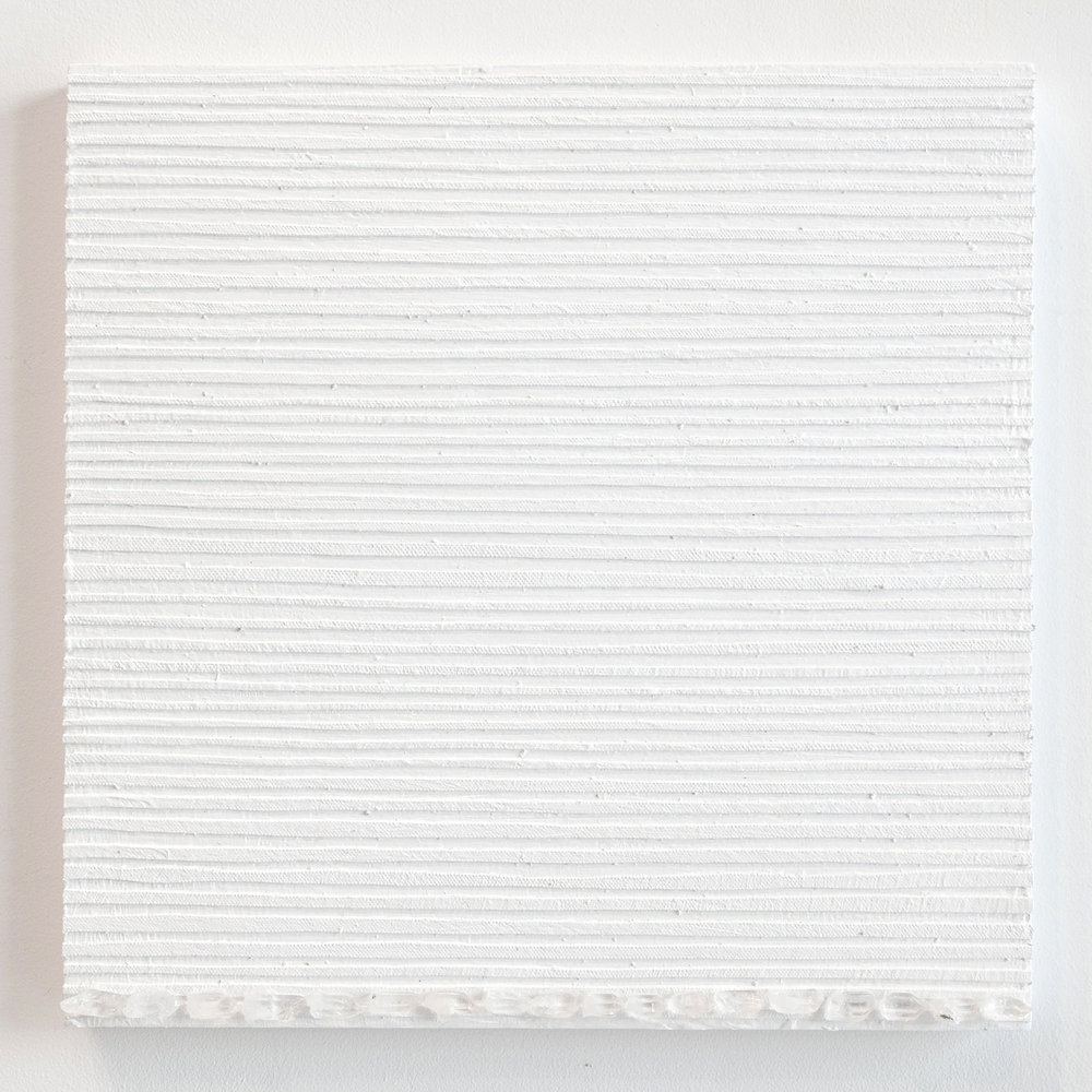 Crystal Cut Levitation #36 , 2019, Quartz crystal, acrylic and linen on wood panel 12 x 12 in (30.48 x 30.48 cm)