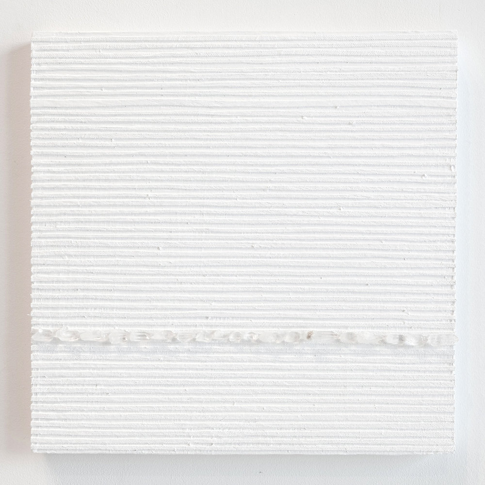 Crystal Cut Levitation #37 , 2019, Quartz crystal, acrylic and linen on wood panel 12 x 12 in (30.48 x 30.48 cm)