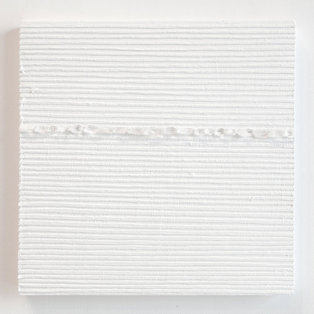 Crystal Cut Levitation #38 , 2019, Quartz crystal, acrylic and linen on wood panel 12 x 12 in (30.48 x 30.48 cm)
