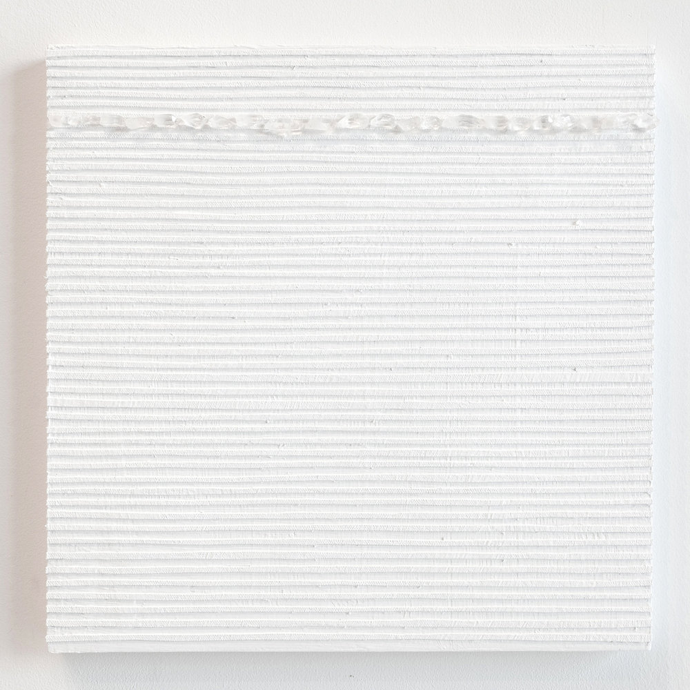 Crystal Cut Levitation #39 , 2019, Quartz crystal, acrylic and linen on wood panel 12 x 12 in (30.48 x 30.48 cm)