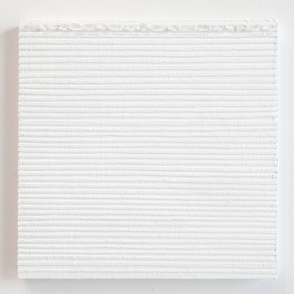 Crystal Cut Levitation #40 , 2019, Quartz crystal, acrylic and linen on wood panel 12 x 12 in (30.48 x 30.48 cm)