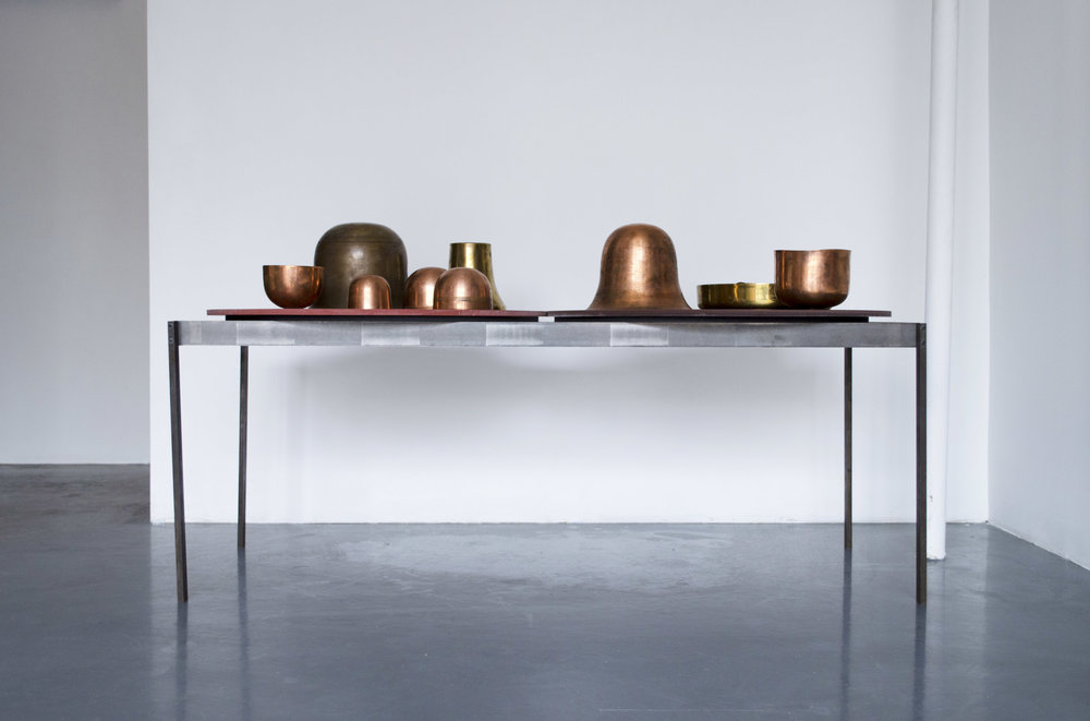 Sarah Entwistle,  WATER. METAL.ENAMEL.PLANTS + VERDANT + LIGHT   with Copper Sprung Vessels, 2019, Untreated milled steel, Base: 47.63 x 17.88 x 20.25 in (121 x 45.4 x 51.4 cm)
