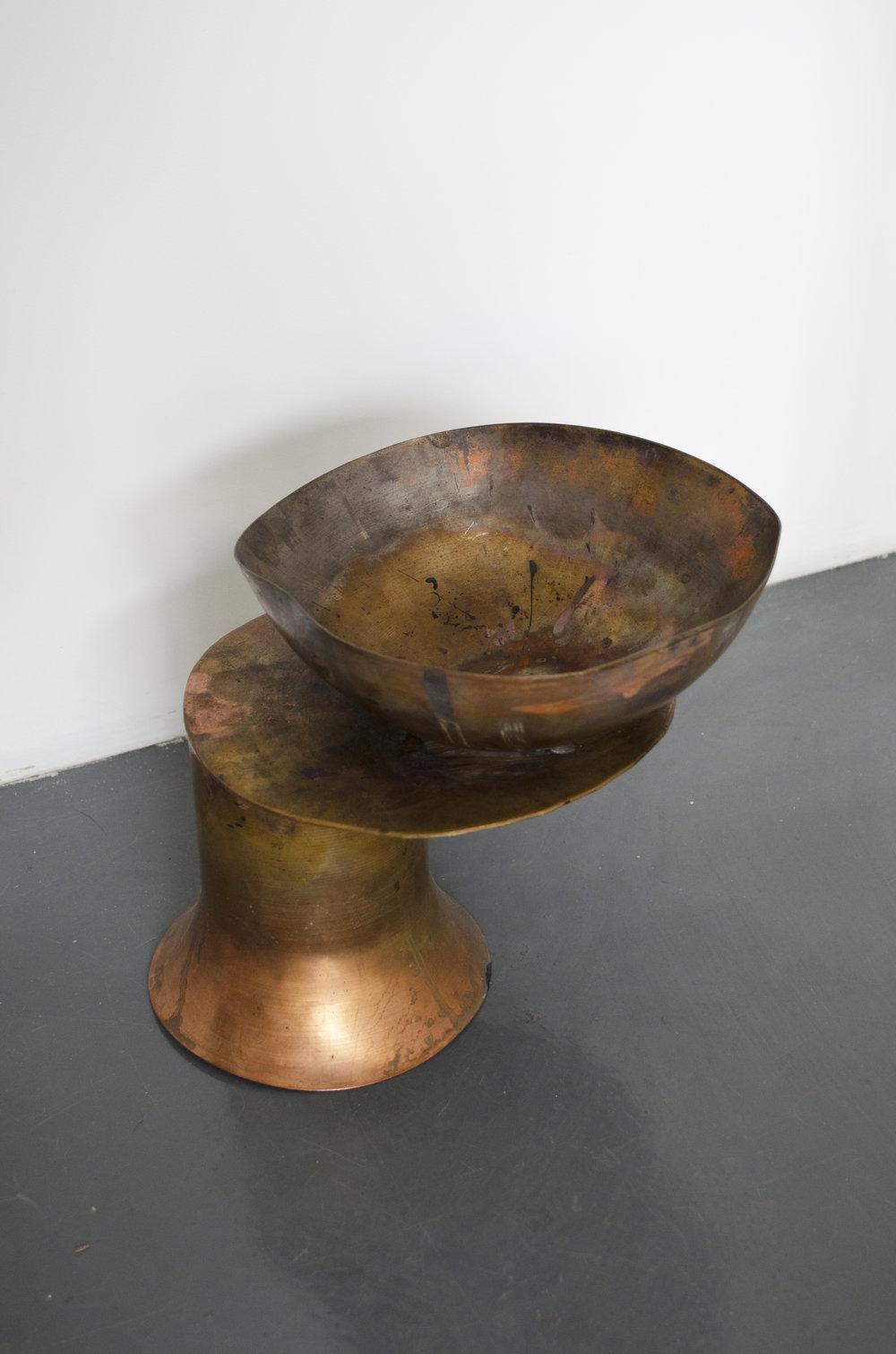 Sarah Entiwstle,  Prototaype Copper #1,  2018, Spun coppper patinated vessels, 9.25 x 8.25 x 8 in (23.5 x 21 x 20.32 cm)