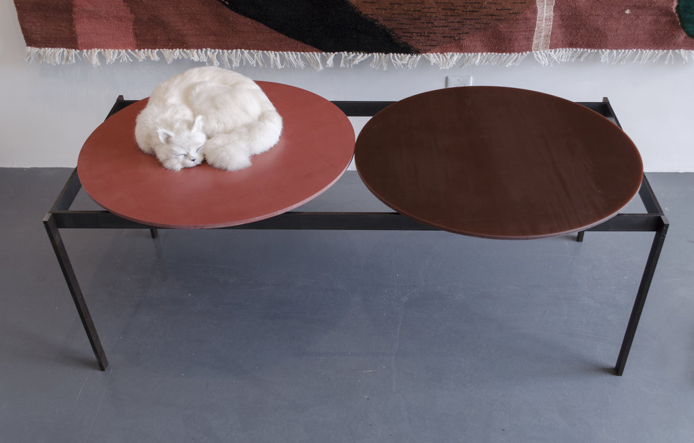 Sarah Entwistle,  WATER. METAL.ENAMEL.PLANTS + VERDANT + LIGHT,  2019, Untreated milled steel, silicone rubber mats, MDF base, Base: 47.63 x 17.88 x 20.25 in (121 x 45.4 x 51.4 cm), Top spheres: 47.25 x 23.25 in [diameter] (120 x 60 cm)
