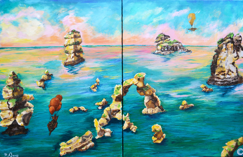 Airships at Breaking Dawn (Diptych)