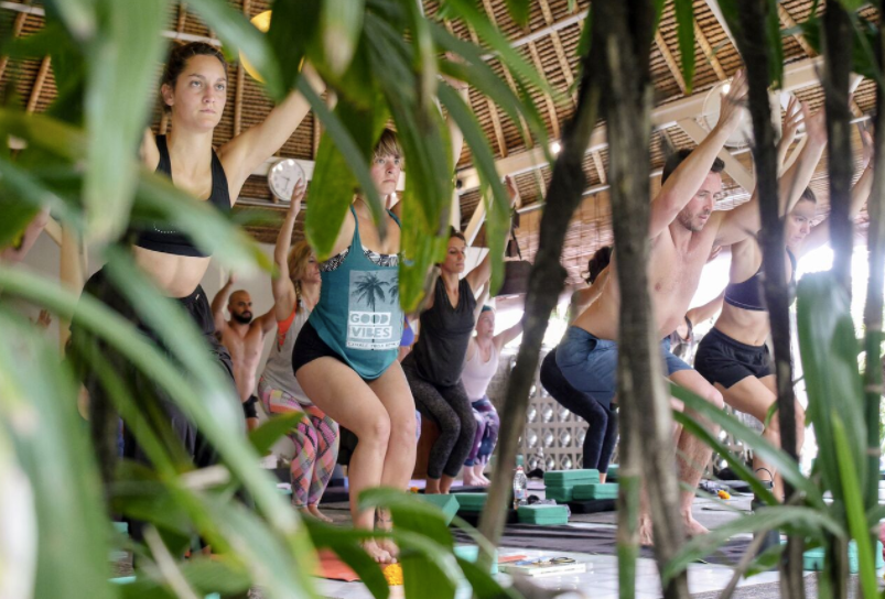 - Despite the serious faces there are Good Vibes all around as our tribe flows in the lush yoga shala at the Chillhouse -