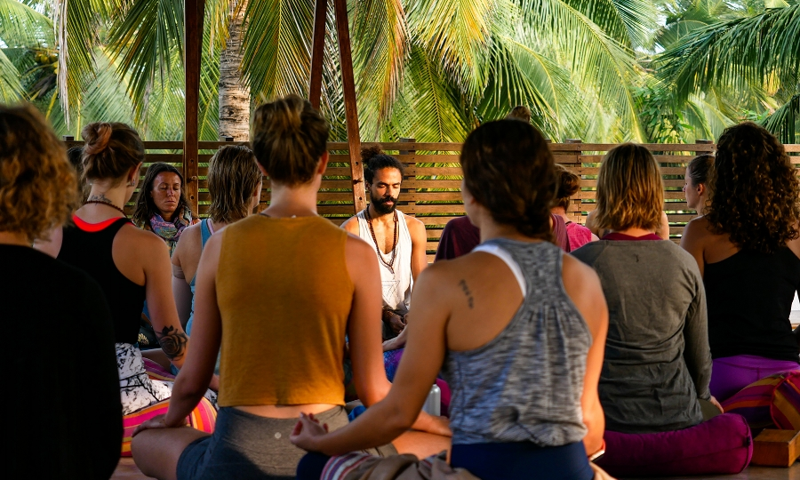 Morning meditation during our recent 300hr Yoga Teacher Training