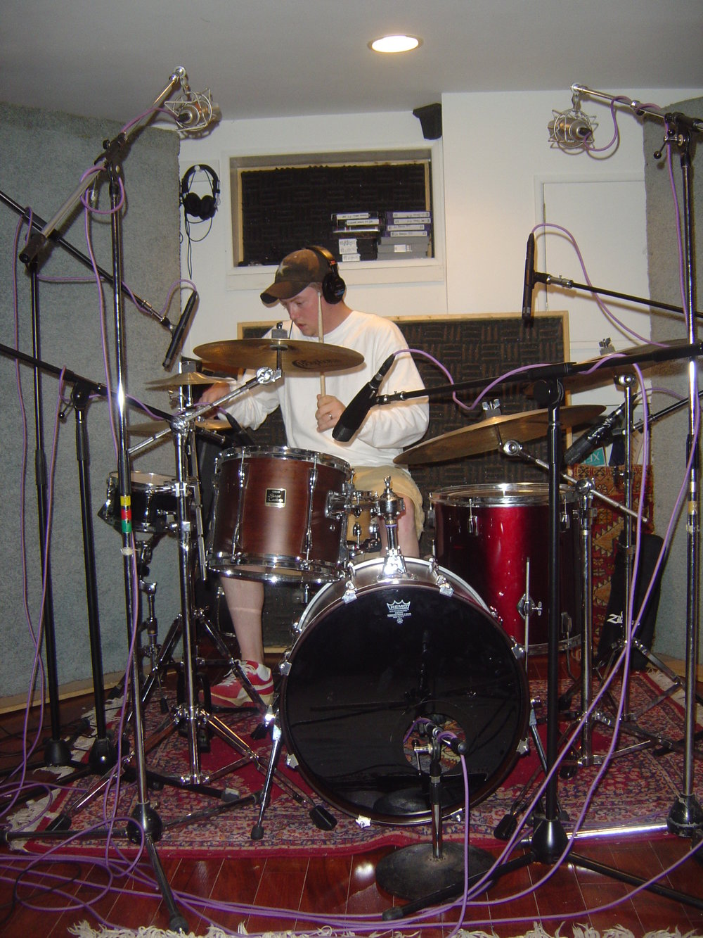 Josh laying drum tracks on Steel Curtain