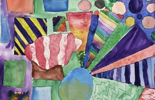abstract watercolor painting. Grade 7