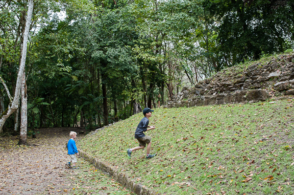 Reis playing on the Mayan ball court.  This ancient game involved putting a large rubber ball through stone hoops using only elbows and knees to keep it in the air.  The losing team was sometimes sacrificed.
