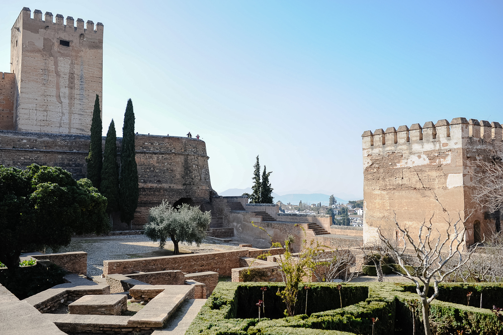 Alhambra (the red fort) built by the Nasrid dynasty, was the last Muslim stronghold in Spain (the Muslims conquered most of Spain in 700 A.D. then gradually lost it back to Christian kingdoms.)  The term Andalusia comes from the Arabic Al-Andalus.