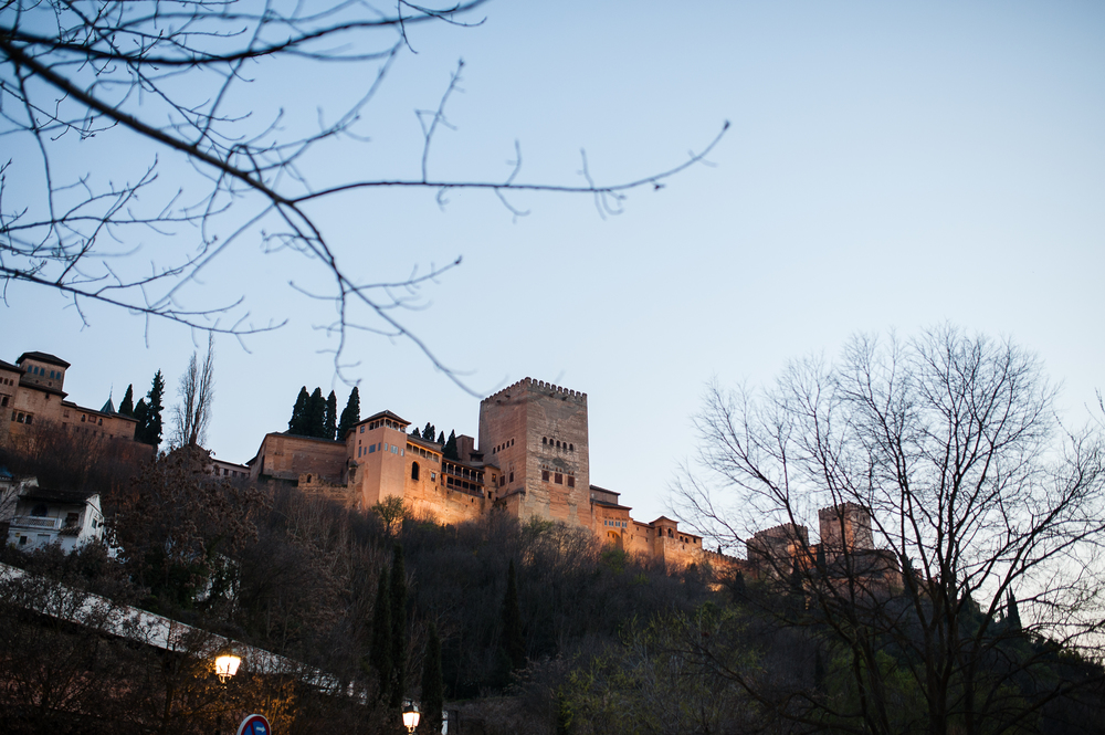 Alhambra from our street - our dinner view!