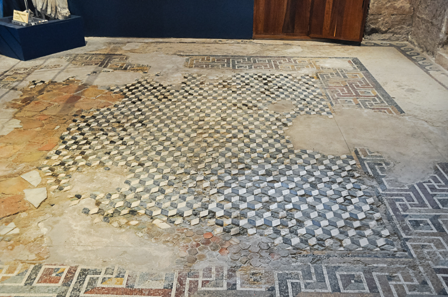 Roman mosaic floor in the home of a former Roman aristocrat