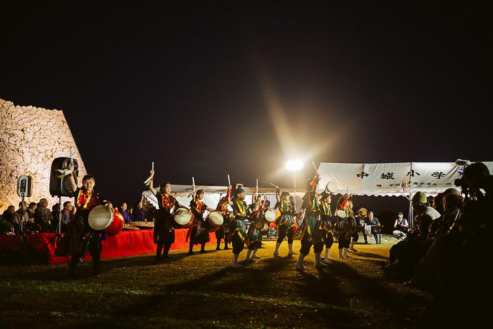 Taiko drummers and Eisa dancers