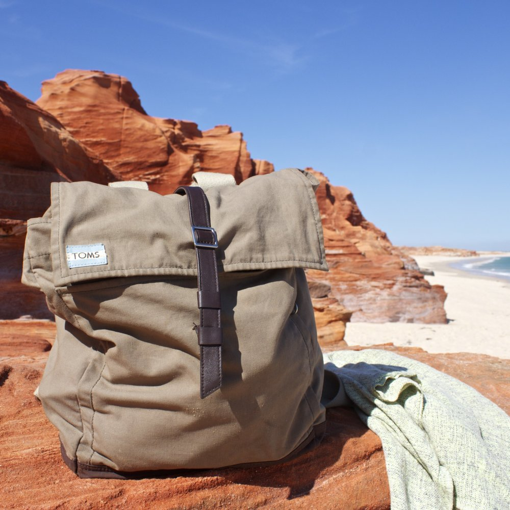 My personal TOMS canvas Trekker bag, photo I took in the Kimberley Australia, on location with Slow Travel Magazine.