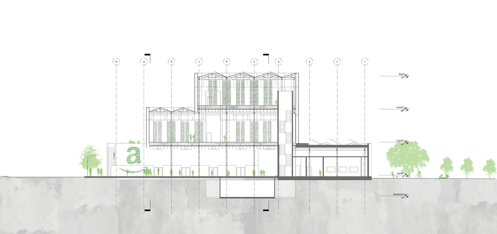 Section through exterior markets, overhanging productive aeroponics and hydroponics and  ground level offices