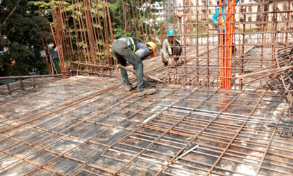 a. Installation of rebar at slab