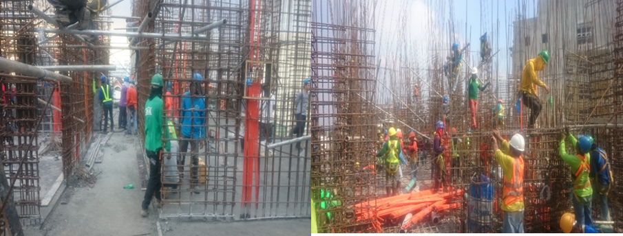 a. Installation of rebars on shear wall
