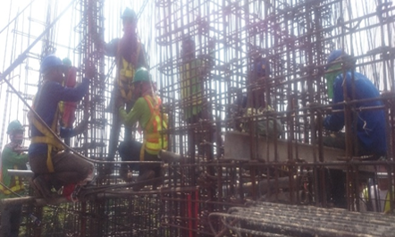 c. Installation of rebars on elevator shaft