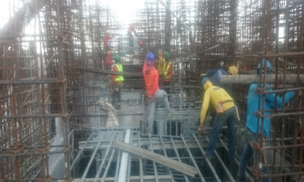 d. Installation of forms on slab
