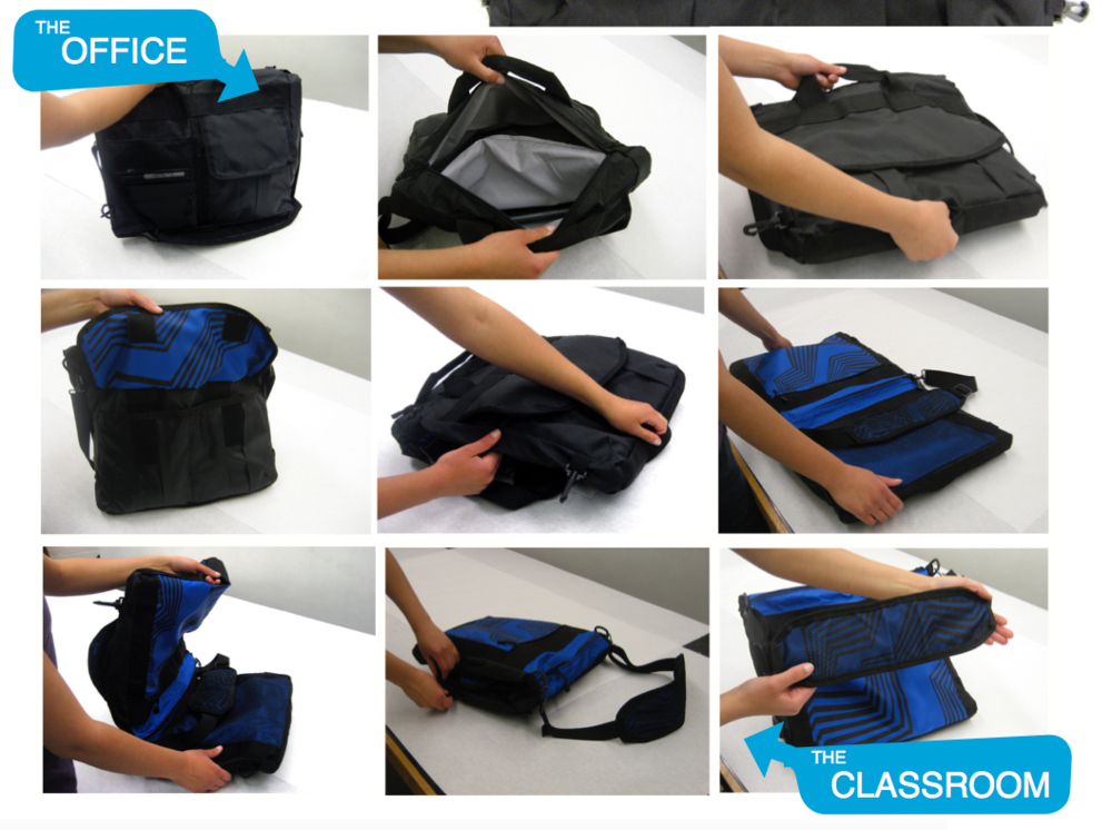 UNDERGRADUATE THESIS: FLIPSAC   A bag that transitions throughout the day  from work to class.