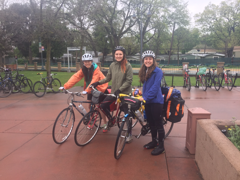 An inaugural photo of the 3 cycleteers setting off on their zany adventure, just before the first leg of their trip, which consisted of biking from one train station to another.