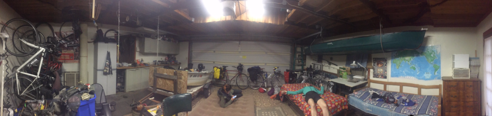 Jerry and Jeanette's bicycle haven, replete with mattresses, canoes, maps, and bikes-bikes-bikes!