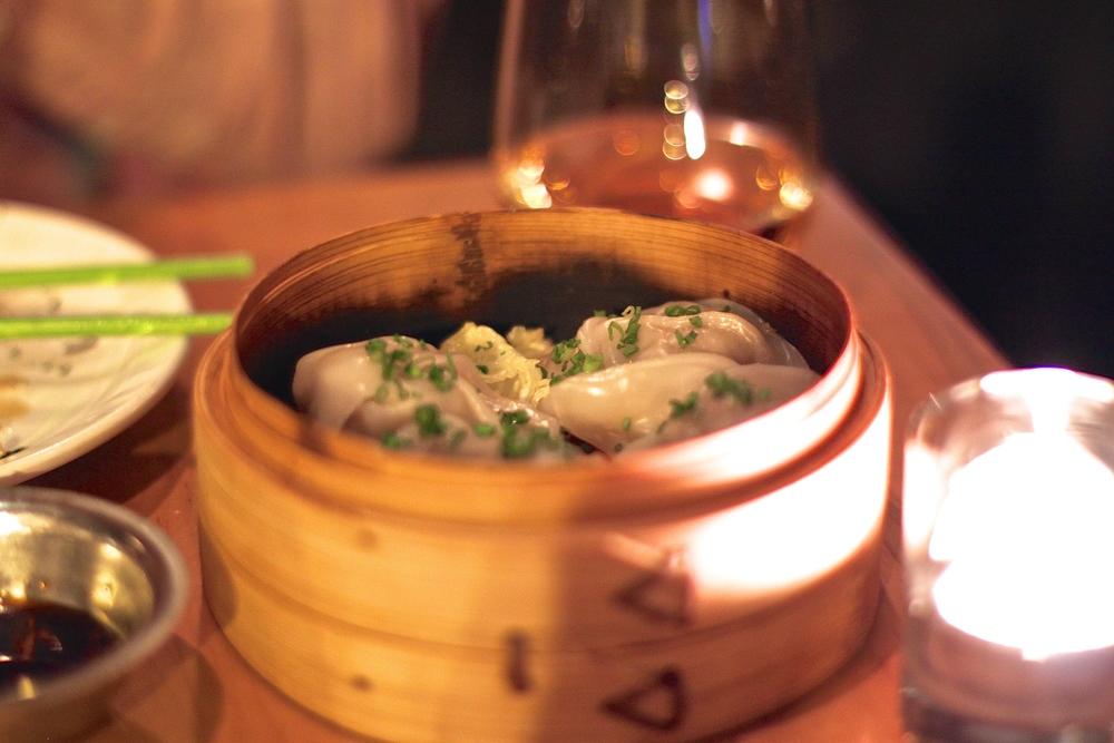 Steamed pork dumplings at Mott Street