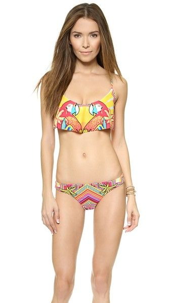 Mara Hoffman | Draped Panel Parrot Graphic Bikini