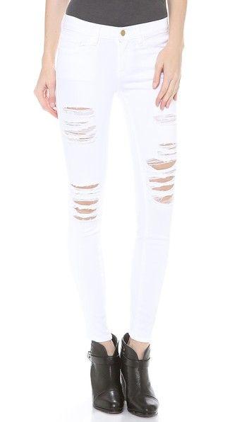 FRAME | Le Color Rip Skinny Jeans in Blanc