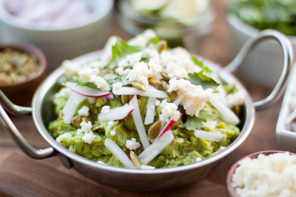 Recipe on Bubbles in Bucktown: Grilled Avocado Guacamole with Roasted Ramps and Poblano