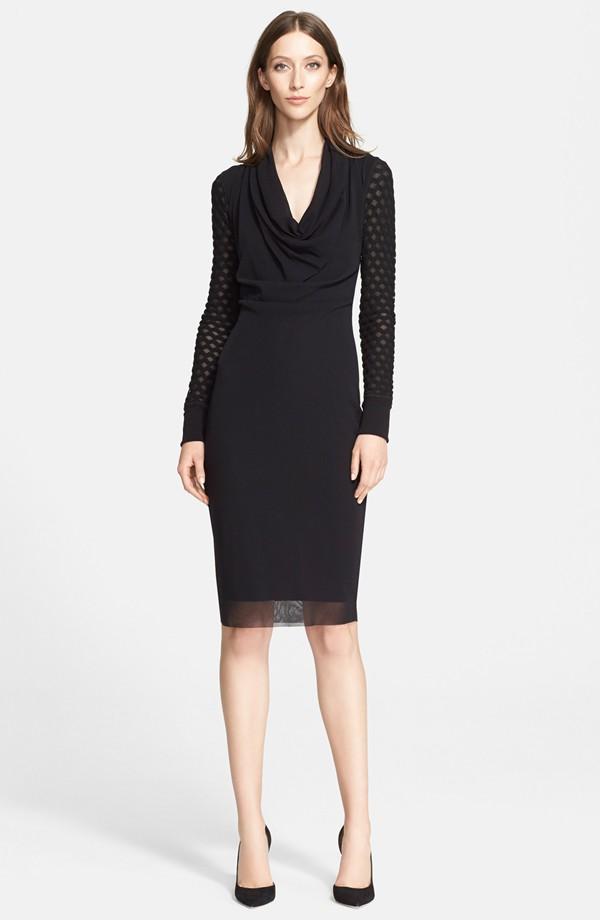 Jean Paul Gaultier Cowl Neck Long Sleeve Tulle Dress