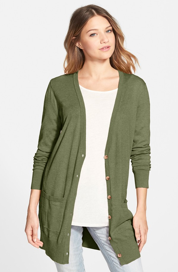 BP. Long Cardigan in Olive Burnt Heather