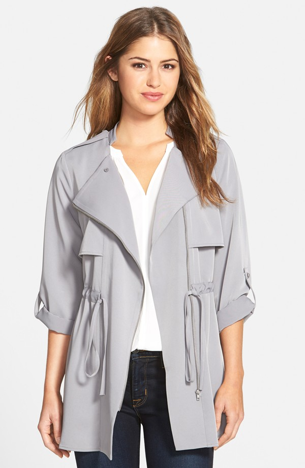 Pleione Roll Sleeve Drawstring Waist Jacket in Charcoal