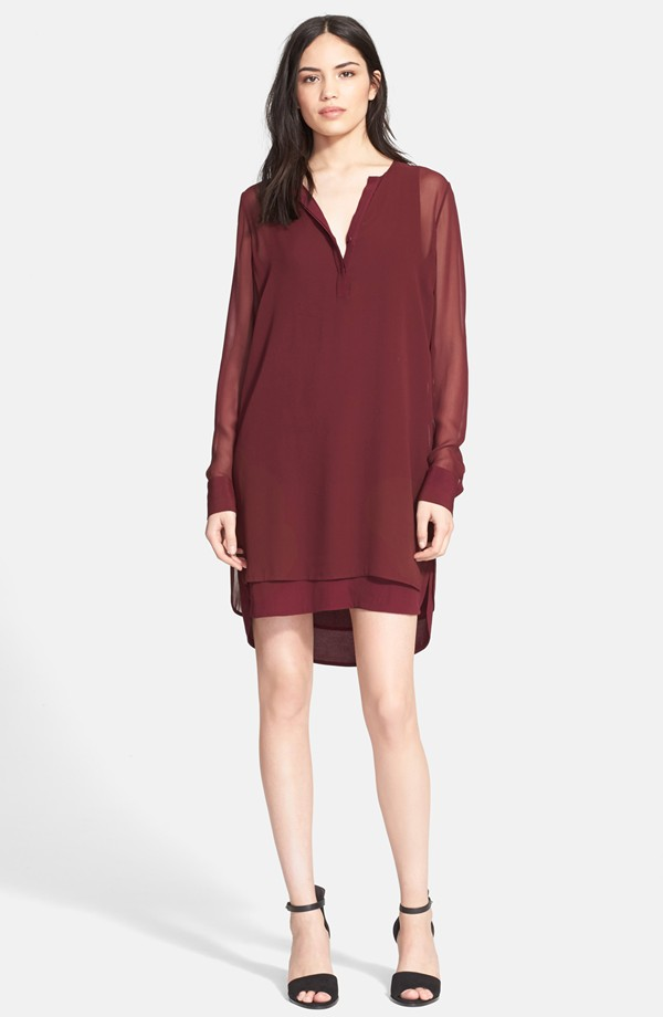 Vince Double Layer Shirtdress in Dark Scarlet
