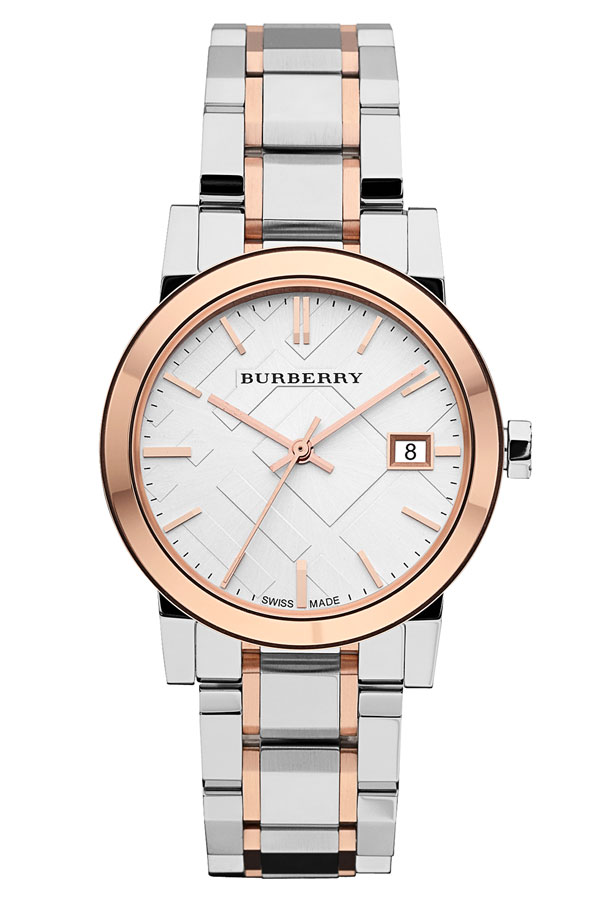 Burberry Medium Check Stamped Bracelet Watch (34mm) in Silver/Rose Gold