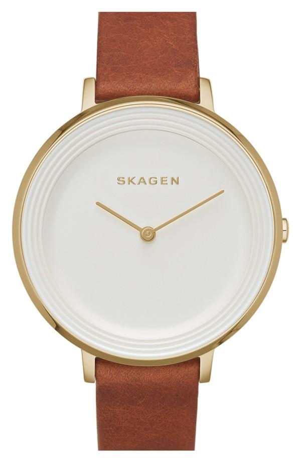 Skagen 'Ditte' Round Textured Dial Watch (37mm) in Saddle/Gold
