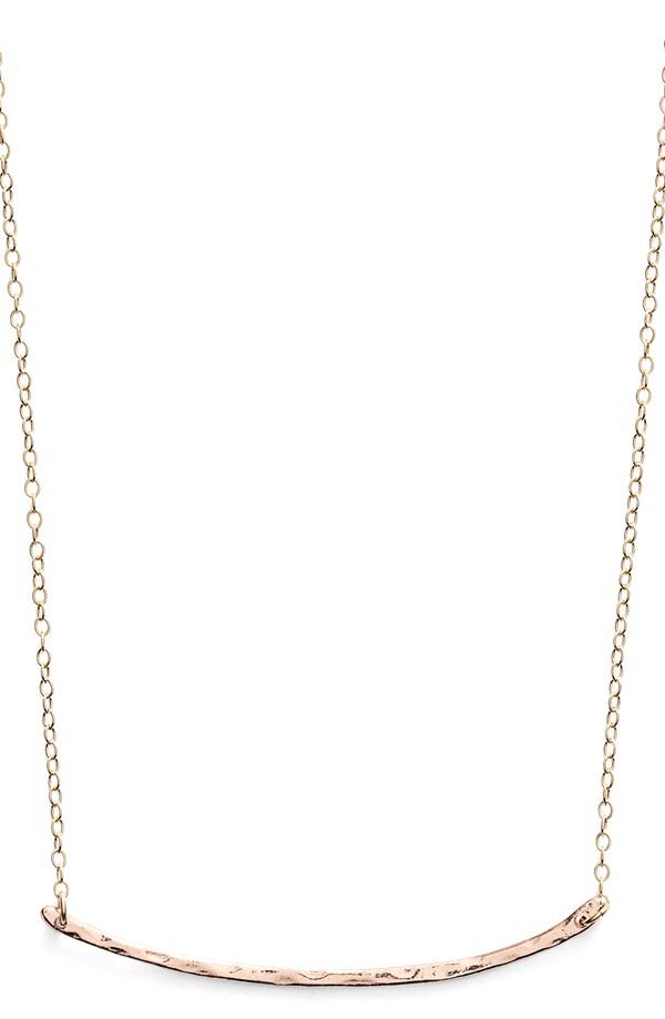 gorjana 'Taner' Small Bar Pendant Necklace in Rose Gold