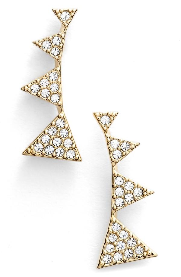 Nadri Triangle Stud Earrings in Gold/Clear