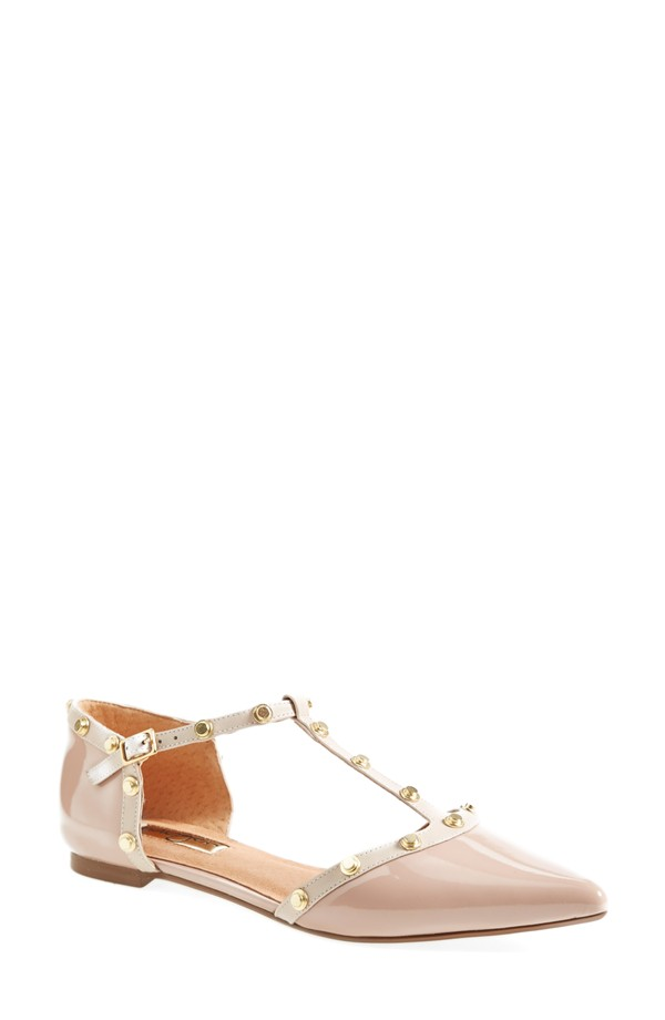 Halogen 'Olson' Pointy Toe Studded T-Strap Flat in Pale Pink Leather