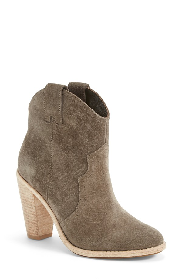 Joie 'Monte' Leather Bootie in Bark Suede