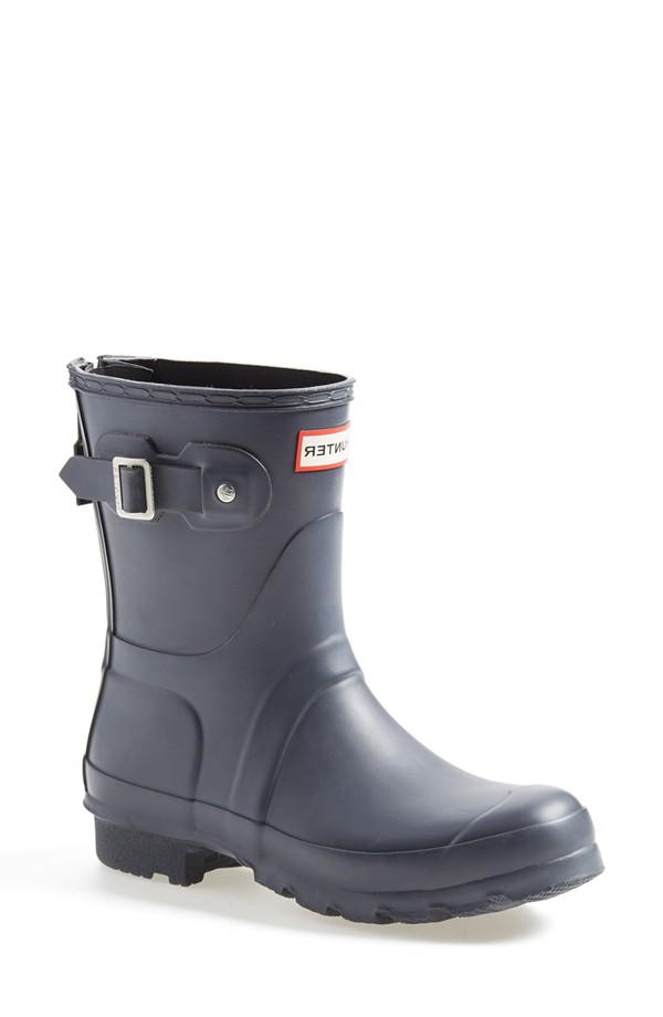 Hunter 'Short' Back Zip Rain Boot in Slate/Black