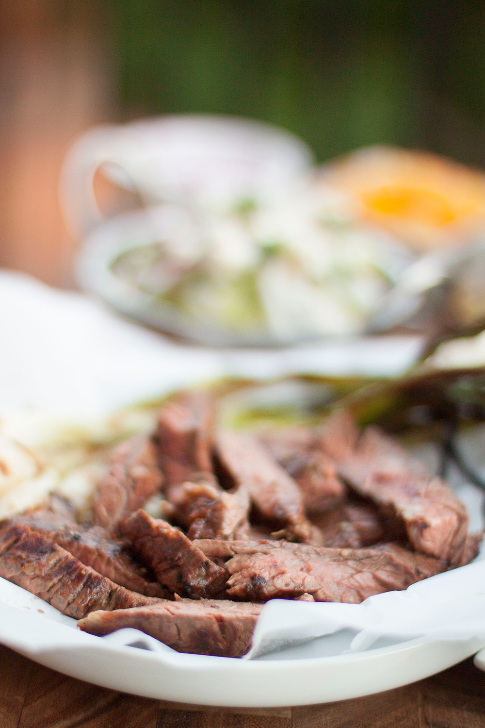 Recipe for Grilled Tomatillo Avocado Skirt Steak Tacos on Bubbles in Bucktown