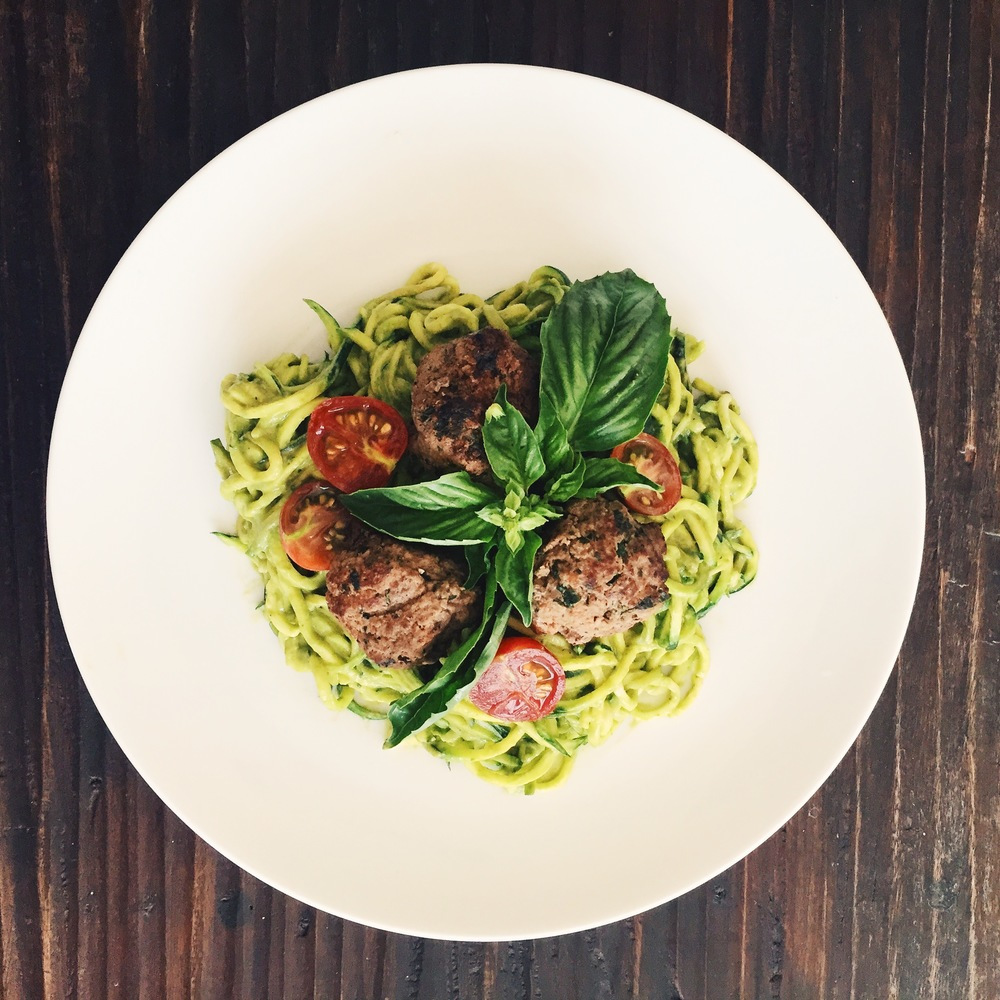 Zucchini noodles with Polpette di vitello and pesto sauce. To make zucchini noodles I highly recommend this.