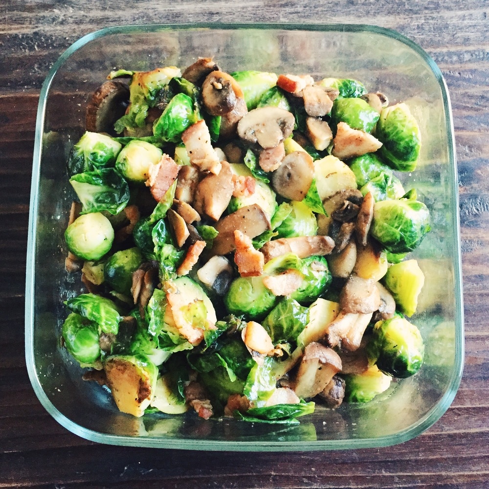 Brussels sprouts with bacon and mushroom. Recipe  here