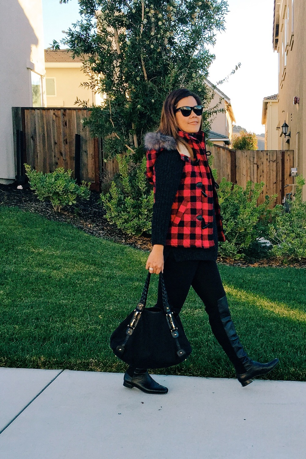 Plaid vest from Target and knee high boots from Nordstrom (last fall).