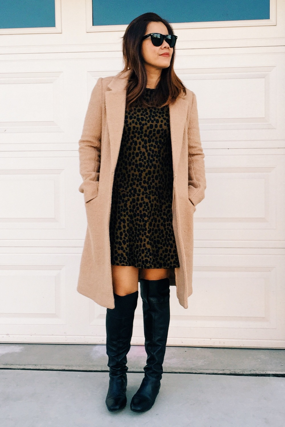 Camel coat from Forever21. Dress from Loft. OTK boots from Nordstrom.