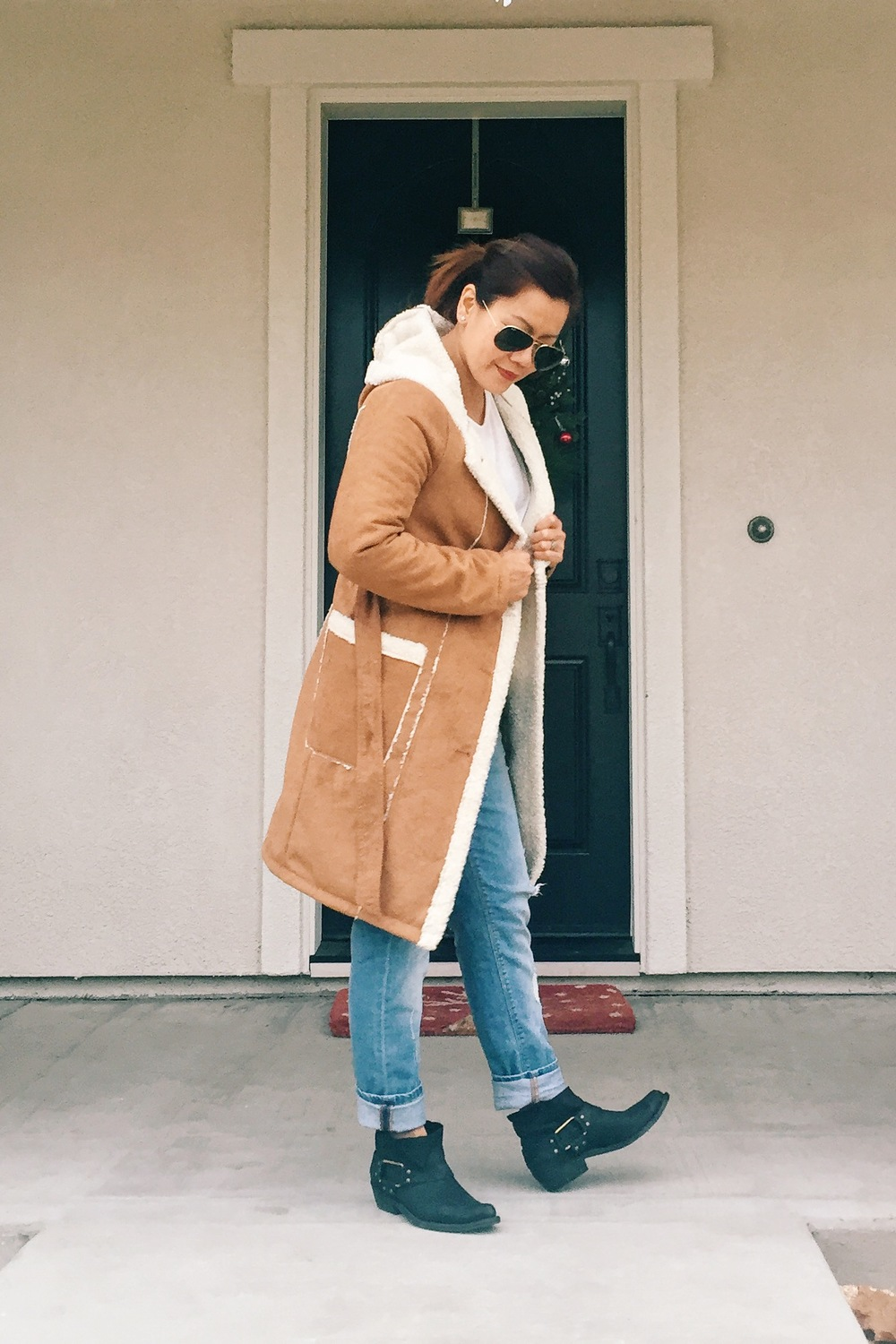 Hooded faux suede coat from Forever21. Boots from ANINE BING.